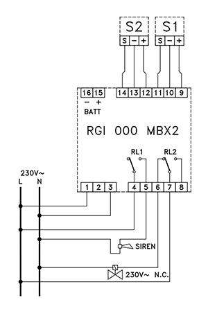Блок питания и сигнализации RGI 000 MBX2. Схема подключения