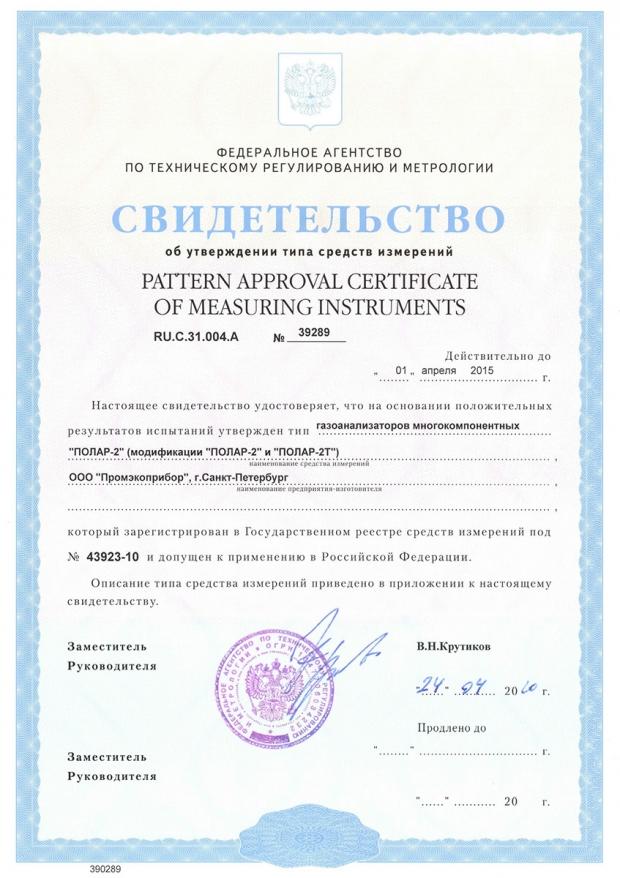 «Полар-2». Свидетельство об утверждении типа средств измерений