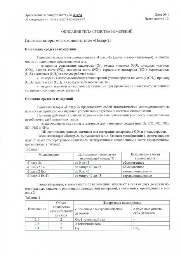 «Полар-2». Описание типа (Приложение к свидетельству об утверждении типа средств измерений)