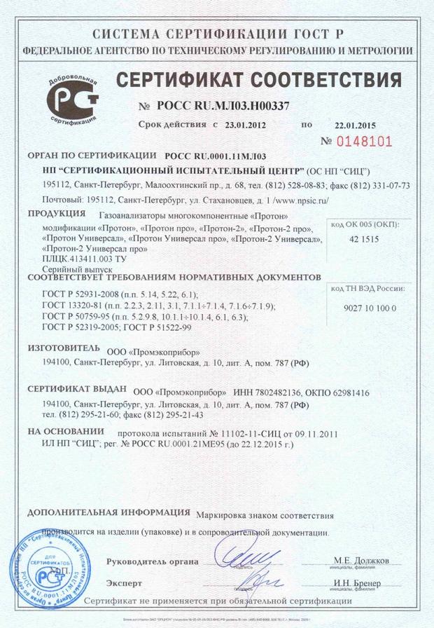 2012. Сертификат соответствия ГОСТ Р