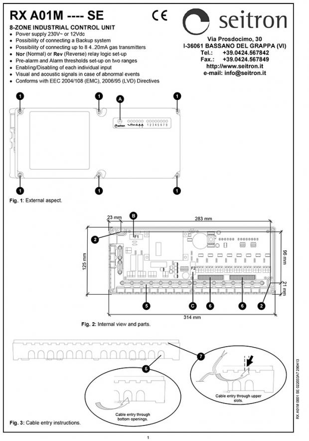Блок питания и сигнализации RX A01M (проспект на английском)
